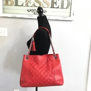 Tory Burch FLEMING DISTRESSED LEATHER TOTE Cherry